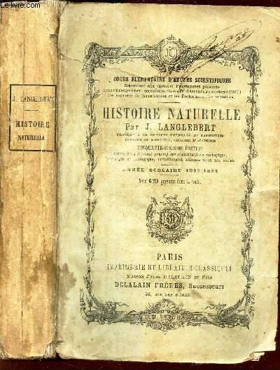 HISTOIRE NATURELLE - ANNEE SCOLAIRE 1892-93 -   /  cous elementaire d'etudes scientifiques