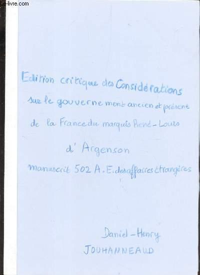 (COPIE D'OUVRAGE) / THESE +  EDITION CRITIQUE DES CONSIDERATIONS SUR LE GOUVERNEMENT ANCIEN ET PRESENT DE LA FRANCE DU MAQUIS RENE-LOUIS D'ARGENSON