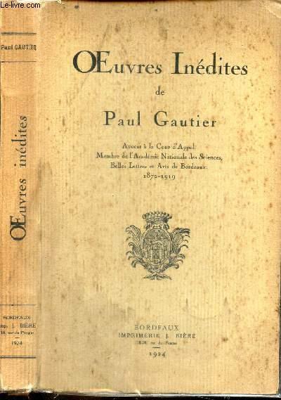 OEUVRES INEDITES DE PAUL GAUTIER