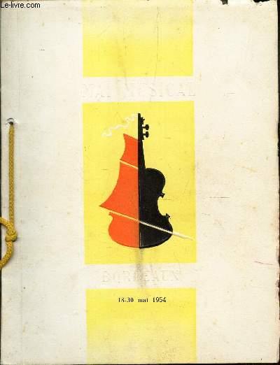 CINQUIEME FESTIVAL DE MUSIQUE - MAI MUSICAL. - 18-30 MAI 1954.