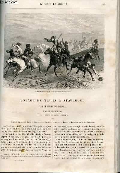 Le tour du monde - nouveau journal des voyages - livraison n°086 - voyage de Tiflis à Stravropol par le défilé du Darial par Blanchard (1858).
