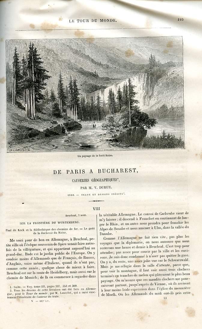 Le tour du monde - nouveau journal des voyages - livraison n°117 et 118. De Paris à Bucharest (Bucarest), causeries géographiques par Duruy (1860).