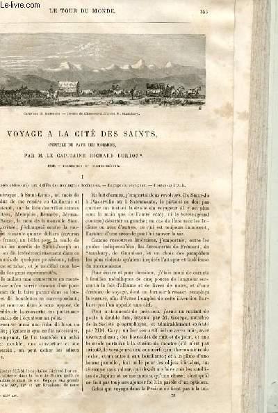 Le tour du monde - nouveau journal des voyages - livraison n°153, 154 et 155 - voyage à la cité des Saints, capitale du pays des Mormons, par le capitaine Richard Burton (1860).