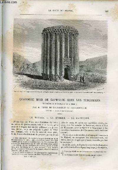Le tour du monde - nouveau journal des voyages - livraison n°328,329 et 330 - Quatorze mois de captivité chez les Turcomans (frontières du Turkestan et de la Perse) par Henri de Couliboeuf de Blocqueville (1860-1861).
