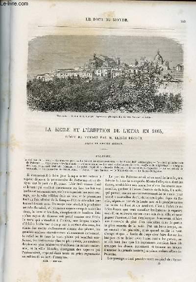 Le tour du monde - nouveau journal des voyages - livraison n°336,337,338 et 339 - La Sicile et l'éruption de l'Etna en 1865, récit de voyage par Elisée Reclus.