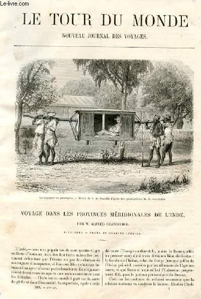 Le tour du monde - nouveau journal des voyages - livraison n° 470,471,472,473 et 474 - Voyage dans les provinces méridionales de l'Inde par Alfred Grandidier (1862-1864).