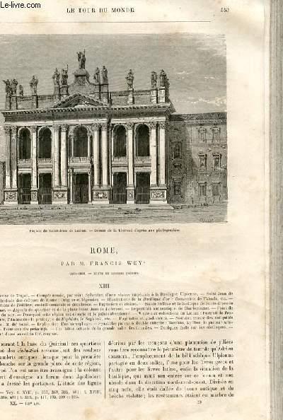 Le tour du monde - nouveau journal des voyages - livraison n°518,519,520,521 - Rome par Francis Wey (1864-1868).