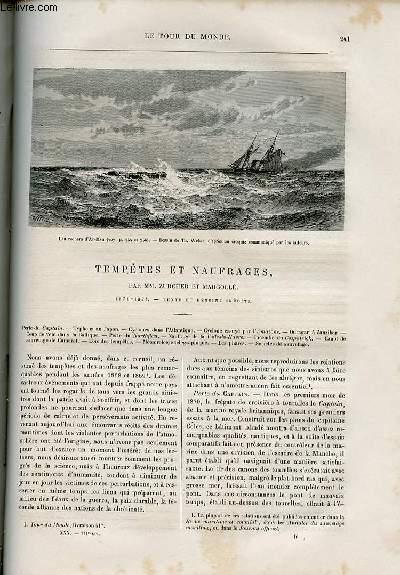 Le tour du monde - nouveau journal des voyages - livraison n°771 - tempêtes et naufrages par Zurcher et Margollé (1870-1874).