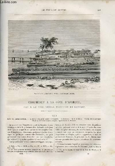 Le tour du monde - nouveau journal des voyages - livraison n°797,798,799 et 800 - Croisières à la côte d'Afrique par le vice-amiral Fleuriot de Langle (1868).