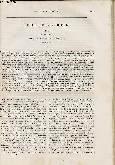 Le tour du monde - nouveau journal des voyages - Revue géographique - premier semestre 1877 par C. Maunoir et H. Duveyrier.