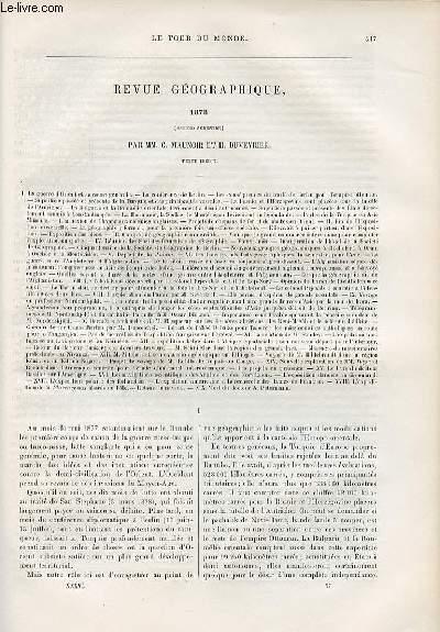 Le tour du monde - nouveau journal des voyages - Revue géographique 1878 (second semestre) par C. Maunoir et H. Duveyrier.