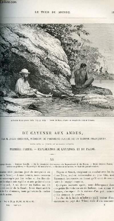 Le tour du monde - nouveau journal des voyages -livraisons n°1050,1051,1052 et 1053 - De Cayenne aux Andes par Jules Crevaux, médecin de première classe de la marine française.