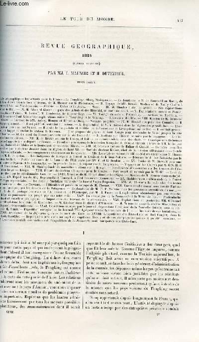 Le tour du monde - nouveau journal des voyages - Revue géographique - Premier semestre 1884 pat C. Maunoir et H. Duveyrier.