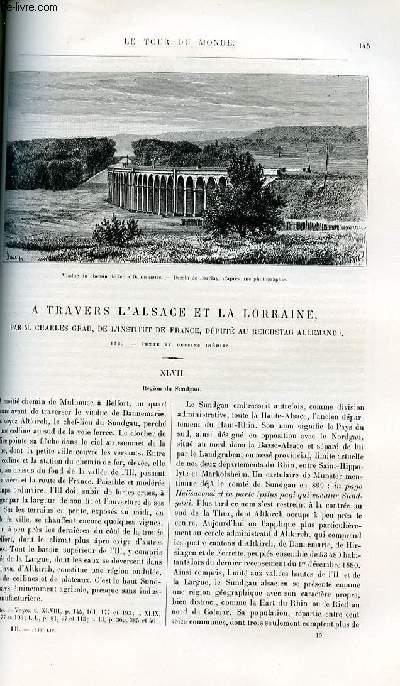 Le tour du monde - nouveau journal des voyages - livraison n°1339,1340 et 1341 - A travers l'Alsace et la Lorraine par Charles Grad de l'institut de France , député au Reichstag allemand (1885).