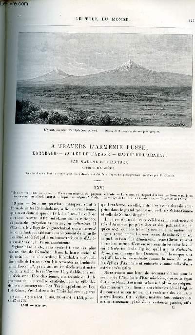 Le tour du monde - nouveau journal des voyages - livraisons n°1628,1629 et 1630 - A travers l'Arménie russe: Karabagh - vallée de l'Araxe - massif de l'Ararat par B. Chantre, officier d'académie.