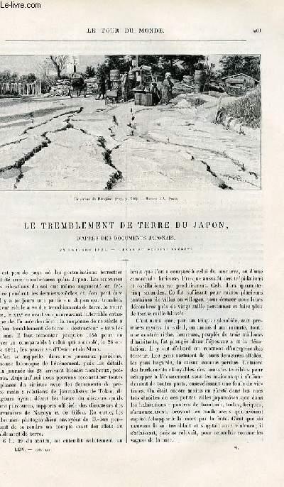 Le tour du monde - nouveau journal des voyages - livraison n°1668 - Le tremblement de terre au Japon d'après les documents japonais - 28 octobre 1891.