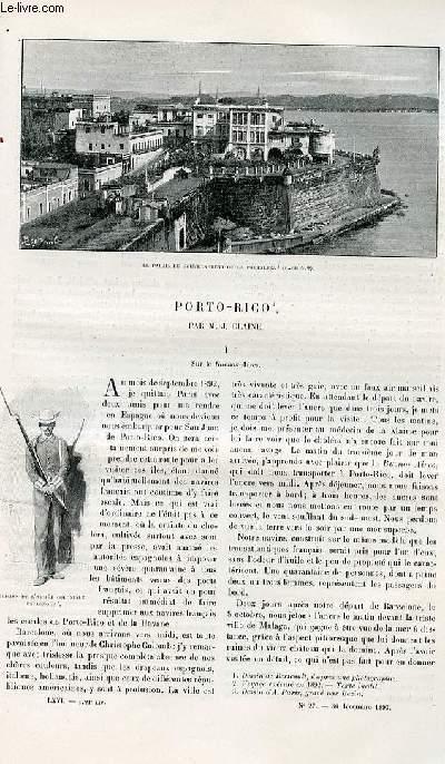 Le tour du monde - nouveau journal des voyages - livraison n°1721 - Porto Rico par J. Claine.