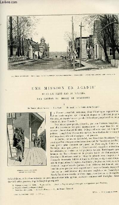 Le tour du monde - journal des voyages - nouvelle série- livraisons n°45, 46, 47 et 48 - Une mission en Acadie et du lac Saint Jean au Niagara par Gaston Du Bosq de Beaumont.