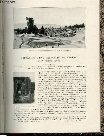 Le tour du monde - journal des voyages - nouvelle série- livraisons n°45, 46, 47 et 48 - souvenirs d'une française en Arménie par Mlle Thérèse Roussel.