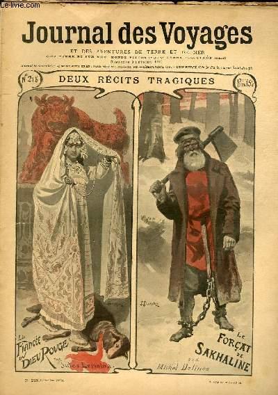 Deuxième série - N°218 - Deux récits tragiques : la fiancée du dieu rouge par Jules Lermina et le forçat de Sakhaline par Michel Delines (à suivre les deux).