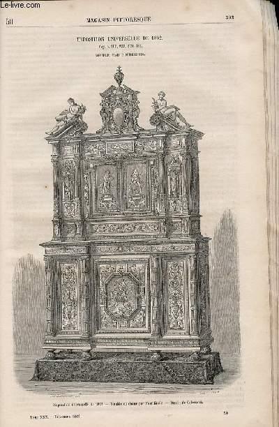 LE MAGASIN PITTORESQUE - Livraison n°050 - Exposition universelle de 1862 - meuble par Fourdinois.