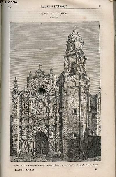 LE MAGASIN PITTORESQUE - Livraison n°013 - L'église de la Santissima à Mexico.