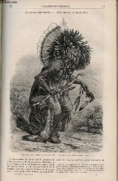 LE MAGASIN PITTORESQUE - Livraison n°015 - Les indiens meunitarris - leurs danses et leurs jeux (Amérique du Nord).