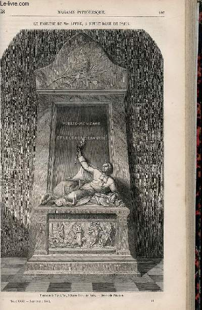 LE MAGASIN PITTORESQUE - Livraison n°038 - Le tombeau de Monseigneur Affre à Notre Dame de PAris.