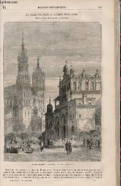 LE MAGASIN PITTORESQUE - Livraison n°044 - La halle aux draps et l'église Notre Dame sur la place du Marché à Cracovie.