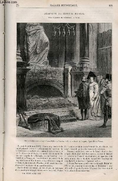 LE MAGASIN PITTORESQUE - Livraison n°025 - Découverte des restes de Raphaë dans l'église du Panthéon à Rome.