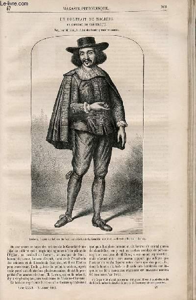 LE MAGASIN PITTORESQUE - Livraison n°047 - Un portrait de Molière en costume de théâtre.