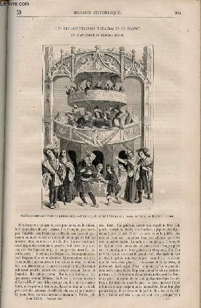 LE MAGASIN PITTORESQUE - Livraison n°030 - Les représentations théâtrales en france du 14ème au 16ème siècle.
