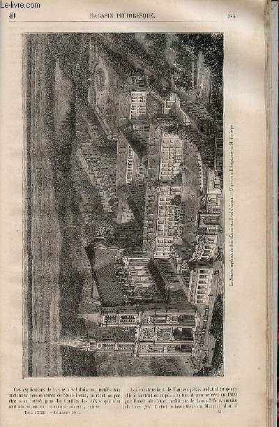 LE MAGASIN PITTORESQUE - Livraison n°049 - La maison impériale de Sainr Denis vue à vol d'oiseau.
