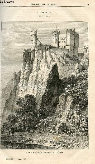 LE MAGASIN PITTORESQUE - Livraison n°005 - Le rheinstein (bords du Rhin).