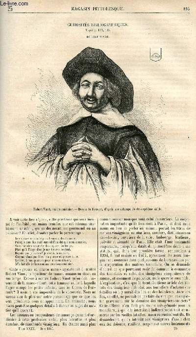 LE MAGASIN PITTORESQUE - Livraison n°025 - Curiosités bibliographiques - Robert Vinot.