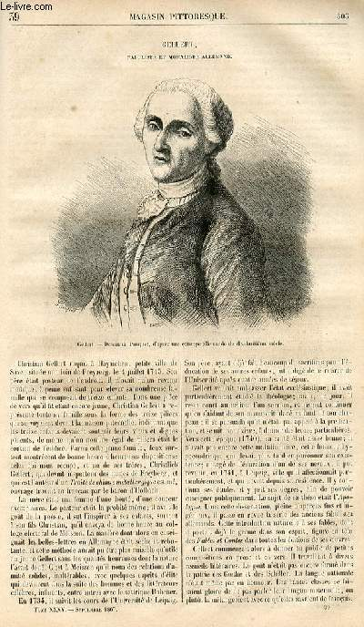 LE MAGASIN PITTORESQUE - Livraison n°039 - Gellert, fabuliste et moraliste allemand.