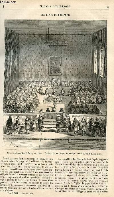 LE MAGASIN PITTORESQUE - Livraison n°004 - Les états de bretagne.