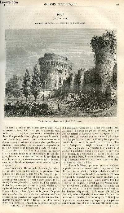 LE MAGASIN PITTORESQUE - Livraison n°007 - Dinan (Cotes du Nord) - Château de Dinan - Tour de la reine Anne.