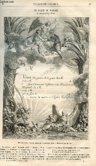 LE MAGASIN PITTORESQUE - Livraison n°008 - Un billet de mariage au 18ème siècle.
