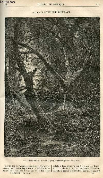 LE MAGASIN PITTORESQUE - Livraison n°018 - Moeurs de l'ours noir d'Amérique.