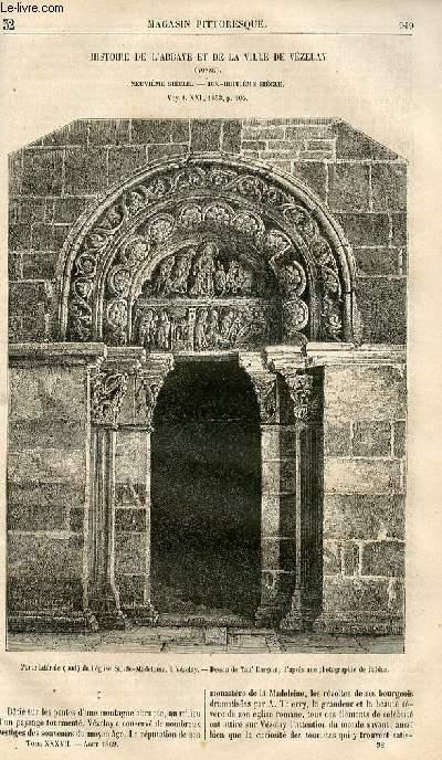LE MAGASIN PITTORESQUE - Livraison n°032 - Histoire de l'abbaye et de la ville de Vézelay (Yonne) - 9ème siècle - 18ème siècle .