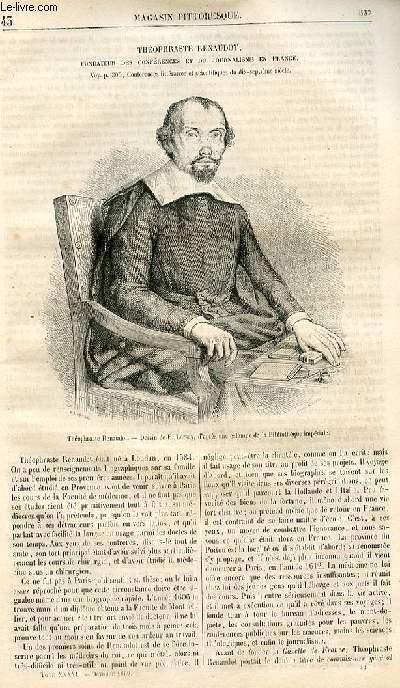 LE MAGASIN PITTORESQUE - Livraison n°043 - Théophraste Renaudot , fondateur des conférences et du journalisme en France.