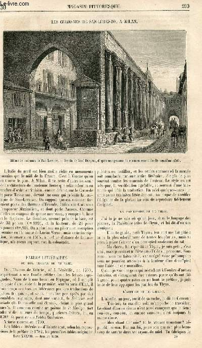 LE MAGASIN PITTORESQUE - Livraison n°030 - Les colonnes de San Lorenzo à Milan, Italie.