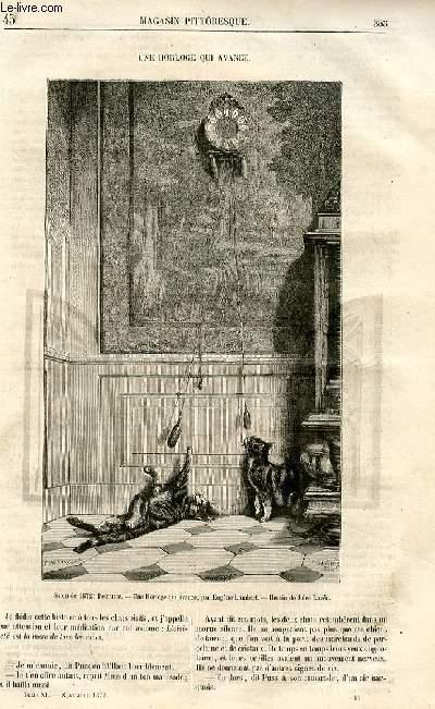 LE MAGASIN PITTORESQUE - Livraison n°45 - Une horloge qui avance.