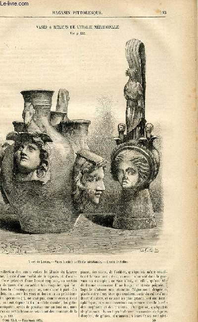 LE MAGASIN PITTORESQUE - Livraison n°50 - Vases à reliefs de l'Italie méridionale.