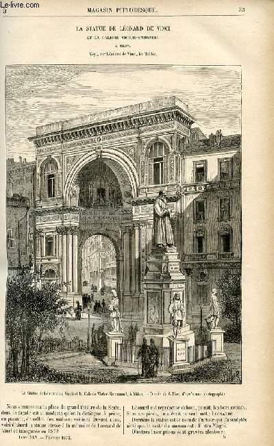 LE MAGASIN PITTORESQUE - Livraison n°05 - La statue de Léonard de Vinci et la galerie Victor Emmanuel à Milan.