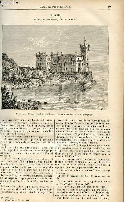 LE MAGASIN PITTORESQUE - Livraison n°07 - Miramar - château de Maximilien près de Trieste.