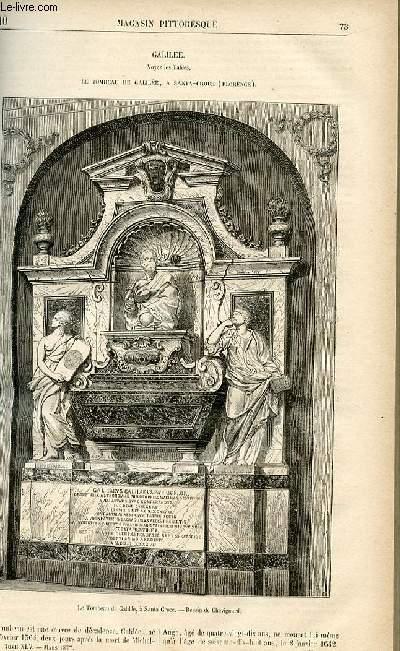 LE MAGASIN PITTORESQUE - Livraison n°10 - Galilée - le tombeau de Galilée à Santa Croce (Florence).