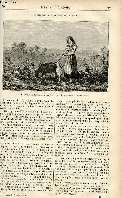 LE MAGASIN PITTORESQUE - Livraison n°28 - Gertrude , la gardeuse de chèvres.