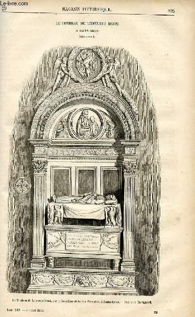 LE MAGASIN PITTORESQUE - Livraison n°29 - Le tombeau de Léonardo Bruni à Santa Croce (Florence).